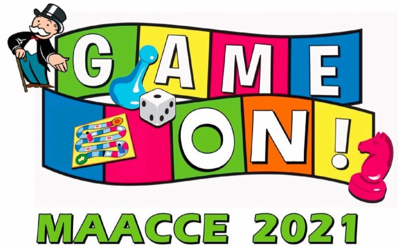 Game On! MAACCE 2021 with game pieces and gameboard